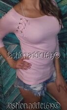 PALE PiNK SEXY WiDE BOAT NECK 3/4 SLEEVE LACE UP LONG TEE T-SHiRT SPRiNG TOP SML