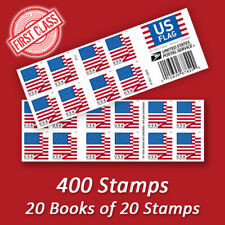 400 USPS FOREVER STAMPS, 20 Books of 2018 US Flag First Class Mail Postage!