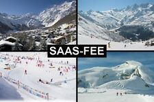SOUVENIR FRIDGE MAGNET of SAAS-FEE SWITZERLAND SKIING