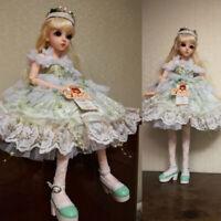 New 1/3 BJD Doll Puppe + Make-up + Kleid Perücke 24'' Kugelgelenk Mädchen Puppen
