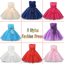 Girl Bridesmaid Dress Baby Flower Kids Party Rose Bow Wedding Dresses Princess