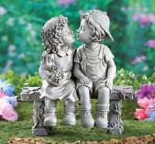 New listing Little Boy & Girl First Kiss Puppy Love Sitting On Bench Garden Sculpture