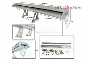 """Rtunes 55"""" Type S Universal Aluminum GT Double Deck Spoiler Wing SILVER Ford"""