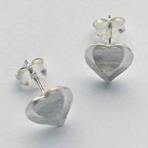 925 Sterling Silver heart shaped brushed finish stud earrings
