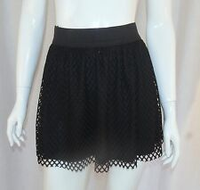 Cyber Gothic Punk Witchy Occult FOREVER 21 Black Fishnet Skater Mini Skirt Small
