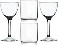 14-oz Double Old Fashioned Glasses (2), Nick & Nora Martini Glasses (2) Set of 4