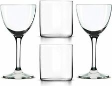 14-oz Double Old Fashioned Glasses (2), Nick & Nora Martini Glasses (2) Set of 4