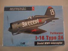 VINTAGE 1/48 HOBBY CRAFT I-16 TYPE 24 SOVIET WWII INTERCEPTOR AIRPLANE MODEL KIT