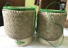 Kratib Sticky Rice Bamboo Crafts Basket Thai Lao Miniature  Handmade 2 Pieces