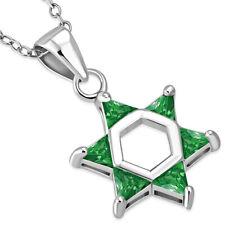 "925 Sterling Silver Green Emerald-Tone CZ Star of David Pendant Necklace, 18"""