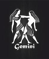 Autocollant sticker signe zodiaque astrologie gemini gemeaux blanc transparent