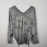 Free For Humanity Womens Top Size S Gray Floral V Neck Long SLeeve Knit