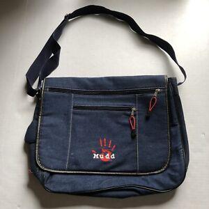 Mudd Blue Denim Messenger Bag Star Vtg Y2K Vintage Laptop Case Schoolbag Hand