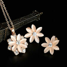 GOLD PLATED OPAL CATS EYE DAISY FLOWER CZ CRYSTAL NECKLACE & EARRINGS SET