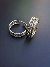 BRAND NEW W/O TAGS Sterling Silver Diamond Cut Vine Hoop Earrings