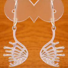 Big Angel Wings Dangle Hook Earrings Vintage Solid 925 Sterling Silver Fancy