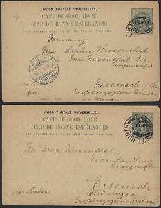 SOUTH AFRICA 1904 CAPE OF GOOD HOPE TWO POST CARDS QUEEN VICTORIA OVPTD ONE PENN