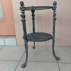 Antique Vintage Cast Brass 2 Tier Plant Stand End Table Cherubs & Claw Feet