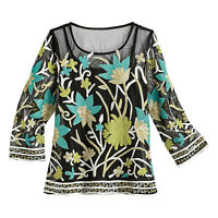 Parsley & Sage Womens Floral Tunic - Black Mesh Soutache Shirt, 3/4 Sleeve Top