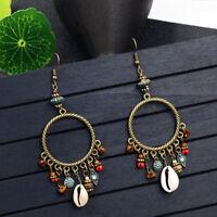 Boho Tassel Shell Flower Circel Round Dangle Drop Hook Ear Stud Earrings Jewelry