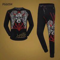 PHILIPP PLEIN Black Skull Men Long Sleeve Sports Suit PS6609# Size M-3XL