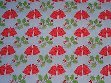 1 yard Christmas/ Holiday Bells & Holly on Light Blue 100% Cotton Fabric