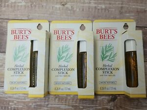 3 Pk Burt's Bees Herbal Complexion Stick With Tea Tree Oil .26 Fl Oz Each