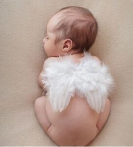 BABY PHOTOGRAPHY SHOOT PROP WHITE WING & HEADBAND. NEWBORN PHOTOS