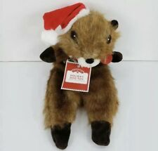 Holiday Dog Toy Beaver Flat Plush Crinkly Squeaker Christmas Gift Holidays 12 in