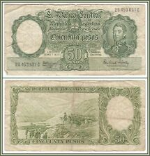 1968-1969 Argentina 50 Pesos Bank Note Circulated Argentinian Currency NR
