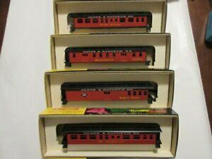 "Set of 4 HO Roundhouse  ""GORRE & DAPHETID""  Old Time Overton Passenger Car kits"