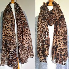 Ladies Leopard Animal Print Lightweight Airy Soft-touch Rectangle Everyday Scarf