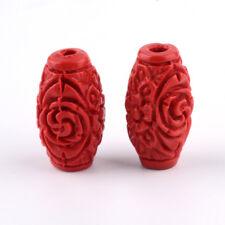 50pcs резной красный киновари бисер ствол свободная прокладка бусина для браслет 18 мм