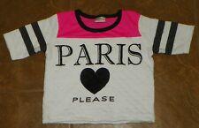 Girls HELLO GORGEOUS Black White Pink TOP Shirt Size 10 PARIS Love Please
