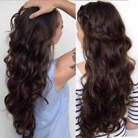 Long Wavy Full Front Lace Wig #2 Dark Brown Real Human Hair Wigs Straight Wavy V