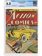 "Action Comics #30 (1940) CGC 6.0 -Superman- 1st App & ""Death"" of Zolar, Pre WWII"