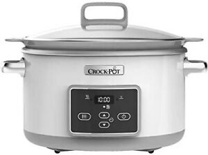 Crock-Pot DuraCeramic 5L Olla de Cocción Lenta - Blanca