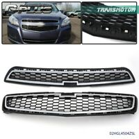 Mesh Chrome Front Bumper Upper & Lower Grille For 2013 Chevy Malibu LS LT