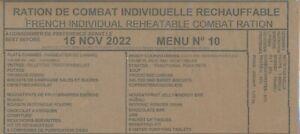 #2023 Ration de combat francaise Menu 10   24 h 00 RCIR-MRE