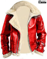 Men's Red A2 Bomber Detached Hoodie Fur Collar Aviator Genuine Leather Jacket