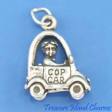 BOY CHILD IN ELECTRIC TOY COP CAR 3D .925 Solid Sterling Silver Charm