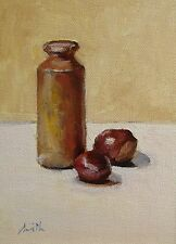 "Oil Painting, ""Conkers with ink pot."" Original impressionist still life picture."