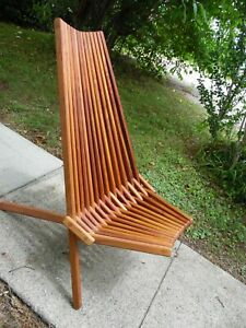Mid Century Modern Danish Style Folding Slat Chair Lounger Solid Cherry Wood