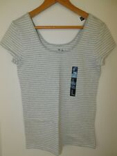 NWT Gap Women's Scoop Fitted Stretch T-Shirt Striped Grey/White Large New