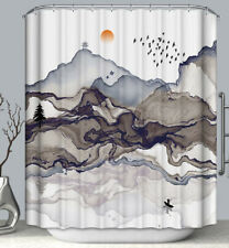 Asian Mountain Art Fabric Shower Curtain 70x70 Japanese Ink Landscape Scenic