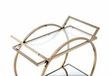 Serving Cart In Champagne - Metal Tube, Glass, Mirror 319138
