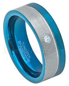 2-Tone Tungsten Ring, 0.07ct Topaz Solitaire Ring,November Birthstone #741