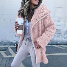 Womens Ladies Warm Pocket Fleece Tops Zip Up Jacket Oversized Outdoor Coats Hot