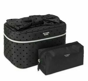 Victorias Secret Velvet dot Runway Train Case 2 Piece Set Cosmetic Makeup Bag