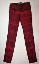 "Tripp NYC Red Tie Dye SKinny Jeans Size 25 Skull Rivets Inseam 30"""